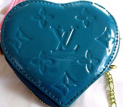 Authentic  Louis Vuitton Brand New Zipper Turquoise Heart Shaped Coin Purse