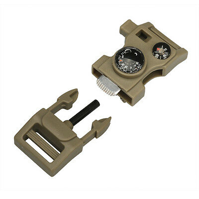 Coffee Outdoor Side Flint Buckle W/Whistle Compass Flint Buckle Starter Scaper