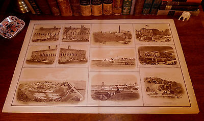 Original Civil War FORT SUMTER Charleston SC South Carolina Panoramic Map Print