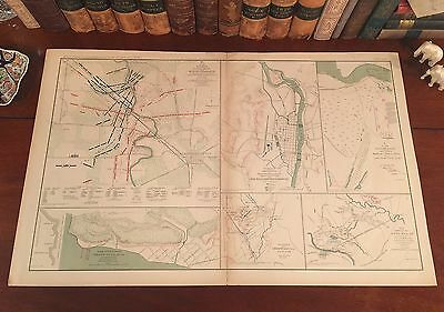 Original Antique Civil War Battle Map STONE'S RIVER Murfreesboro TN Tennessee