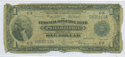 1914 (series 1918) US Large $1 Federal Reserve Bank Note. PHILADELPHIA DISTRICT