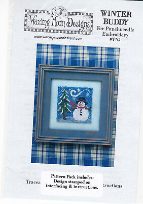 Waxing Moon  Winter Buddy Punch needle embroidery pattern on interfacing