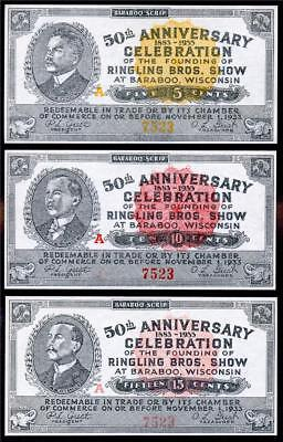 HGR 1933 5c,10c,15c ((Ringling Bros - ALL Serial#7523)) Appears GEM UNCIRCULATED