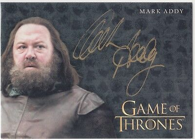 Game of Thrones Valyrian Steel Gold Auto Mark Addy as King Robert Baratheon EL