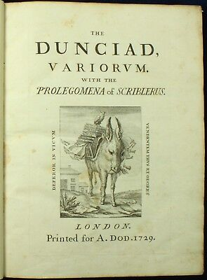 Alexander Pope THE DUNCIAD VARIORUM 1729 4to 18th Century Annotations 1ST ED NR