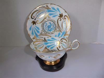 Royal Chelsea Hand Decorated Gold Gilt Turquoise Bird Tea Cup & Saucer