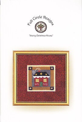 Full Circle  Starry Christmas Houee Punch needle embroidery pattern on fabric