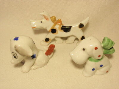 Lot of 3 Vintage Puppy Dog w/ Bow Dots Ceramic Japan Figurines