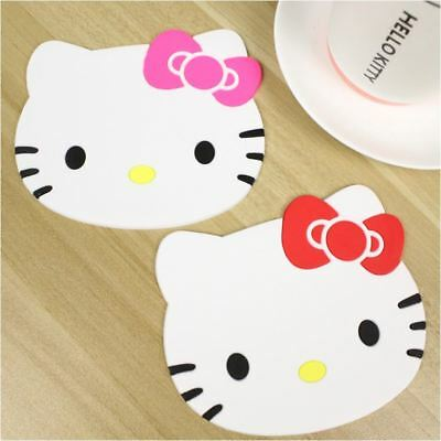 2PCS Silicone Hello Kitty Hot Cup Dish Bowl Placemat / Mat / Stand