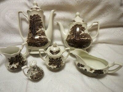 Authentic Romantic Meakin J. & G. England Ironstone tea / coffee set of 6
