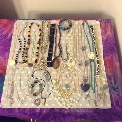 Huge Jewelry Lot Necklaces & Bracelets Some Signed Lia Sophia Express 32Pc Lot