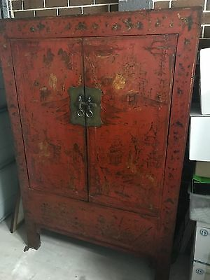 Antique C1880 Original Hand Decorated Chinese Red Lacquered Wedding Cabinet