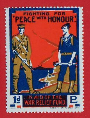 """Great Britain - Ww1 - """"peace With Honour"""" War Relief Fund Label - Mnh"""