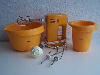 Krups Mixer 3Mix 3 Mix 3000 orange + 2 x Rührschüssel + Quirle Type 322 140 Watt