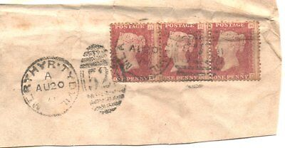 penny reds with mis-placed perf T on piece cancelled with Merthyr Tydfil Duplex
