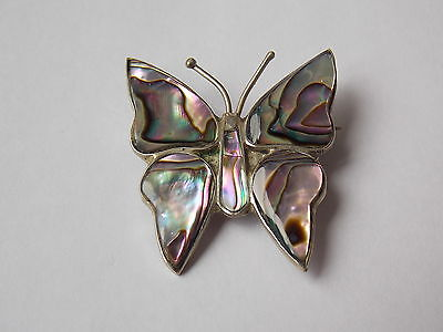 Silver Mexican Abalone Shell Butterfly Brooch