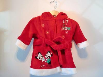 Disney Christmas Fluffy Winter Red Minnie Mickey Mouse Dressing Gown Age 3 - 6 M