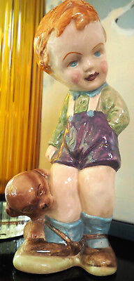 """Vtg 1950s red-haired boy with dog xl ceramic figurine 9"""" as Mabel Lucie Attwell"""