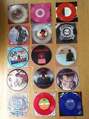 Job Lot of 15 Picture Disc or Coloured Vinyl 7in Records All Very Good Condition