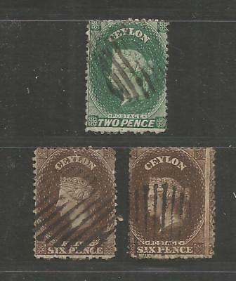 NOV 007 British Colonies - CEYLON Queen Victoria TWO 2 SIX 6 Pence USED stamps $
