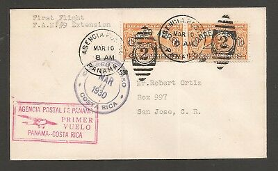 PC 001 PANAMA Costa Rica AIR MAIL Canal Zone San Jose 1930 First Flight Cover $$