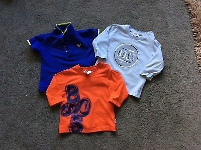 baby boys HUGO BOSS & ARMANI tshirts. age 6 months. excellent cond