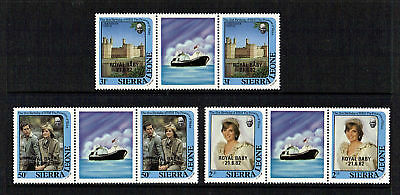 Sierra Leone 1982 Birth Of Prince William Set Of 3 In Tab Gutter Pairs Mnh