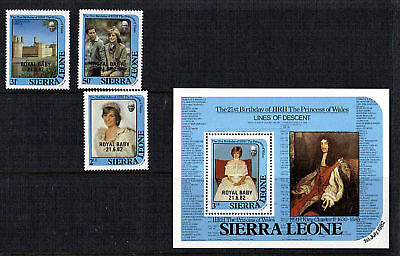 Sierra Leone 1982 Birth Of Prince William Set & Souvenir Sheet Mnh