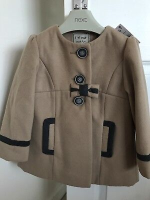 Baby girls brown coat from Next age 2-3 years BNWT new bow fur winter