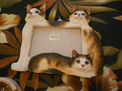 "Calico Cats Photo Frame-3 Cats Featured-Very Good 9"" X 8"" X 1"""
