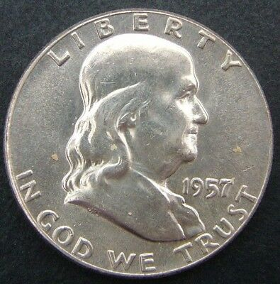 USA 50 cents/half dollar Franklin 1957 (No mintmark).