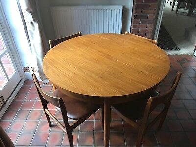 VINTAGE 1970s TEAK DANISH INFLUENCE EXTENDING DINING TABLE AND 4 CHAIRS