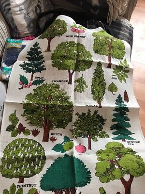 Vintage Irish Linen Teatowel For National Trust By Pat Albeck Trees