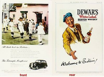 Dewar's White Label Scotch Whisky & Mayflower Tiumph car 1951 great Ads