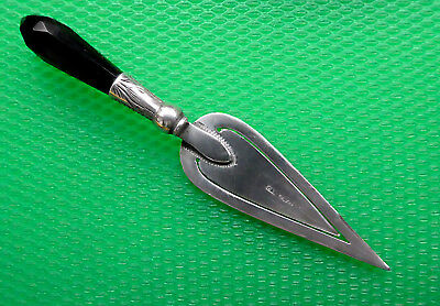 Antique, Silver And Faceted Onyx, Trowel Shaped Bookmark