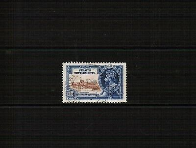 Straits Settlements 1935 12c Silver Jubilee YSB Perfin used