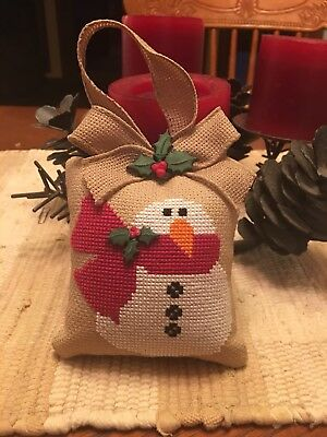Finished/completed Christmas Snowman Ornament