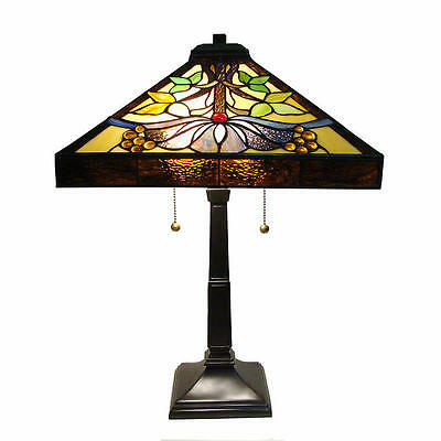 New Rustico Mission Style Table Lamp Stained Glass Shade
