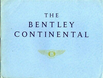 The Bentley Continental Sales Brochure 1950's Sports Saloon Park Ward & Mulliner