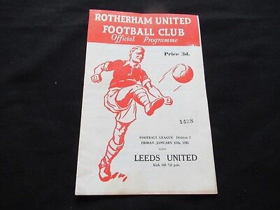 ROTHERHAM V LEEDS UNITED 1961-1962 Good+ Condition Football Programme