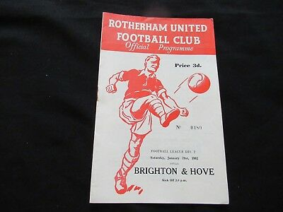 ROTHERHAM V BRIGHTON & HOVE 1960-1961 Good+ Condition Football Programme