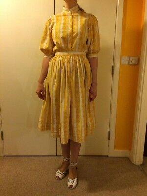 1950s Set Skirt and Top Size M Buttercup Yellow