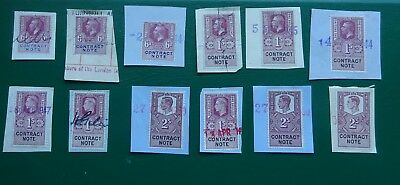 Kings Contract Note stamps 6d to 2/- signed and dated