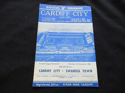 CARDIFF CITY V SWANSEA TOWN 1959-1960 Good Condition Football Programme