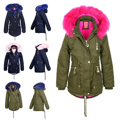 Kinder Parka Riesen Kunst Fell Kragen Pink Teddy Fleece Mantel Jacke Army Winter