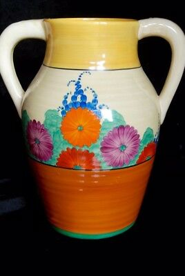 Clarice Cliff Lotus Jug - Twin Handled in Gayday pattern - Dates from 1930-34