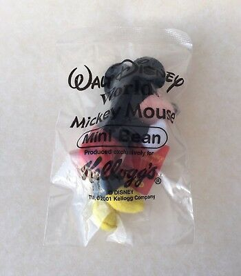 Brand New 2001 Kellogg's Cereal Mickey Mouse MINI BEAN Promotional Stuffed Toy
