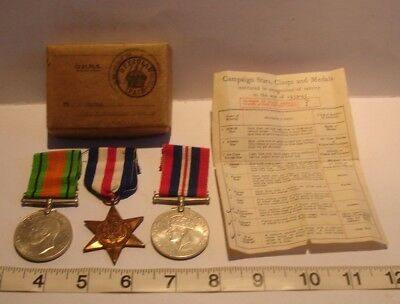 Ww2 Defence & War Medal / France  Germany Star + Ribbons 1939-45 Box Certificate