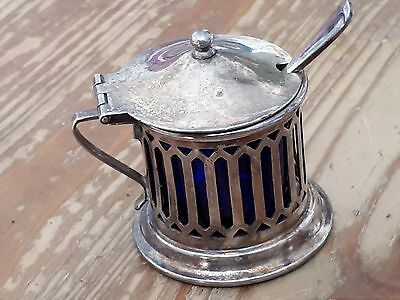 Silver Mustard Pot Cobalt Blue liner with Spoon MADE IN LONDONV - Vintage
