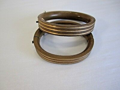 Antique Victorian Pair Of Gutta Percha Gold Inlay Mourning Baby Bangle Bracelet